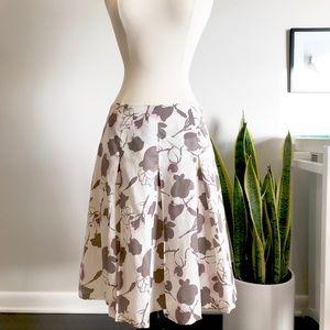 White pink box pleated gypsy circle skirt
